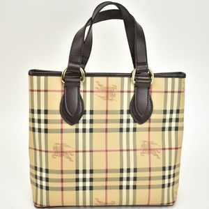 BURBERRY Beige Haymarket Check & Leather Tote (sz)